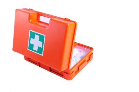 Plastic first aid case with partitions